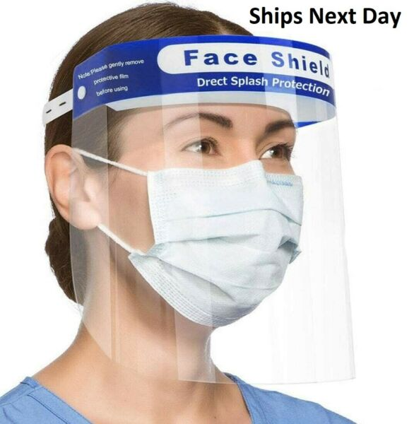 Safety Face Shield Protection Cover Guard Reusable Transparent Anti-Fog 100PK