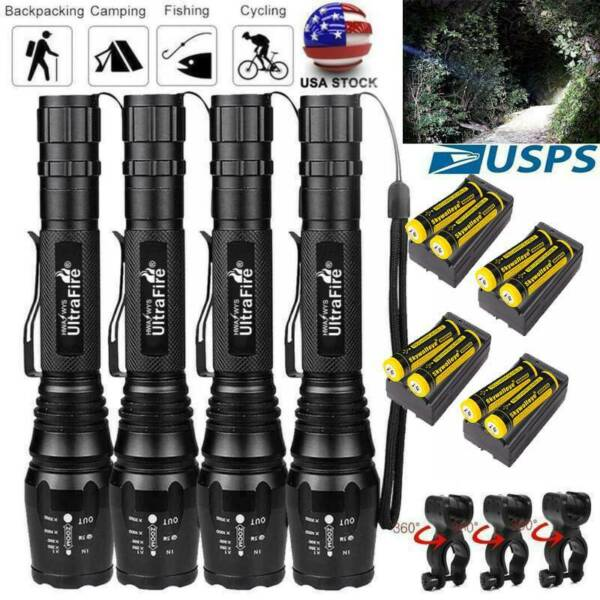 Zoomable Ultrafire Tactical 350000LM 5-Modes T6 LED Focus Flashlight Torch US