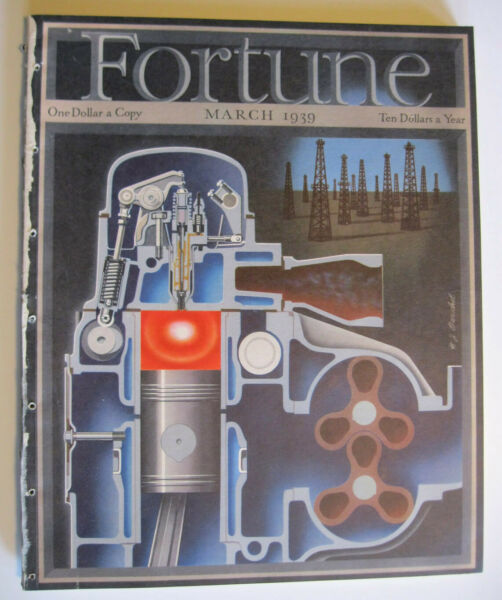Fortune Magazine 1939 March Full Barschel Cover Whiskey General Motors