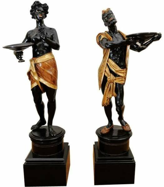 Antique Early 20th c. Pair of Exceptional 5' carved wood Venetian Blackamoors