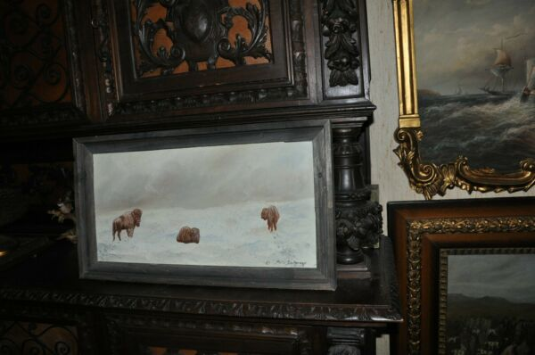 Original  Buffalo in snow Painting  By Listed  Artist