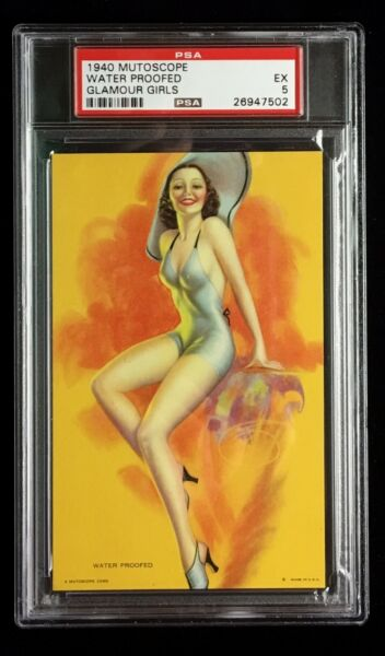 1940 EX EXHIBIT  ARCADE MUTOSCOPE CARD *WATER PROOFED* CHEESECAKE PSA 5