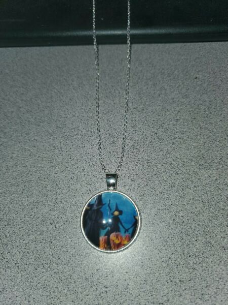 PUMPKIN WITCHES HALLOWEEN UNISEX SILVER PENDANT NECKLACE ADULT  KID ORGANZA BAG