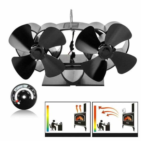 8 Blade Heat Powered Stove Fan with Thermometer for Wood Log Burner Fireplace -