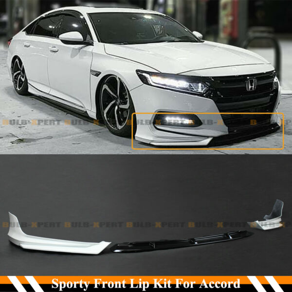 For 2018 2020 10th Gen Honda Accord White Pearl YF Front Bumper Lip Splitter Kit
