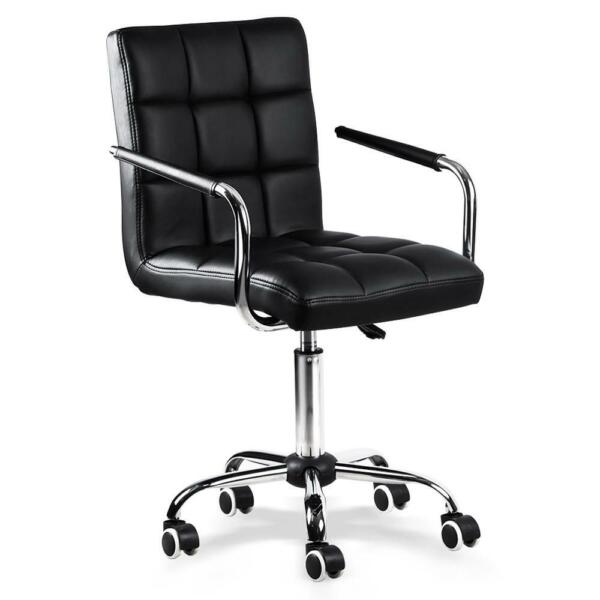 Black Office Chair Height Adjustable Mid Back PU Leather 360° Swivel 120kg265lb