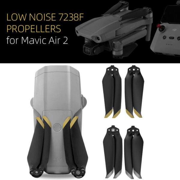 2 Pairs 7238F Noise Reduction Quick Release Propellers for DJI Mavic Air 2 Drone