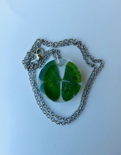 Real Four Leaf Clover Necklace Irish Luck Lucky Shamrock Handmade