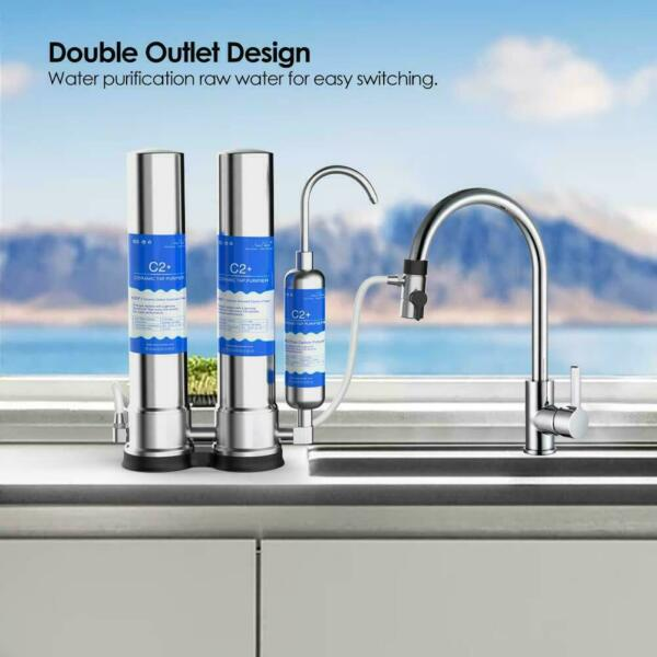 SimPure 2 Stage Countertop Ceramic Drinking Water Filter Filtration System C1 C2