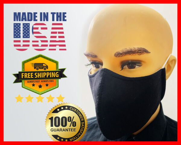 Face Mask - Black & Multi Colors Triple Layers Unisex Washable - Made in the USA