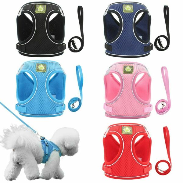 Small Dog Breathable Mesh harness Vest Collar soft chest strap XS XL Leash set $7.89