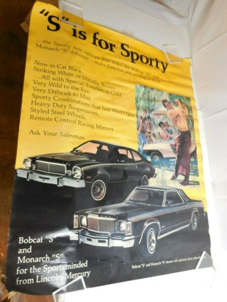 1976 Mercury Bobcat & Monarch Sporty 43x34Showroom Poster Display Vtg Dealership