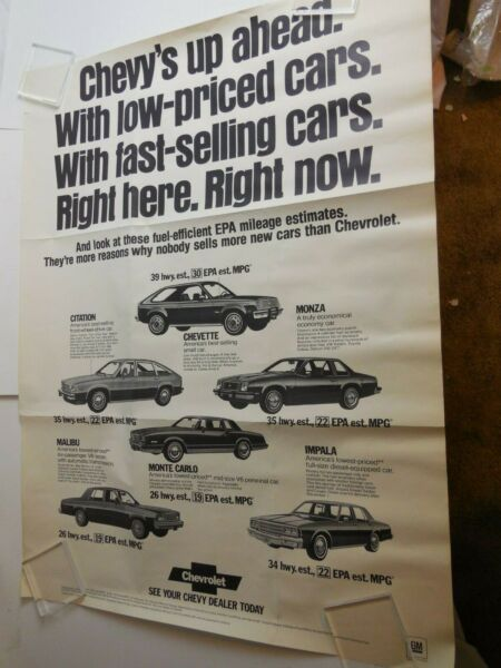 80s Chevy's Full Lineup Monza Impala EPA Showroom Poster Display Vtg Dealership