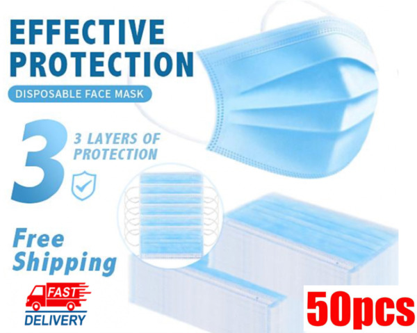 50PCS Face Mask Medical Surgical Dental Disposable 3 Ply Earloop Mouth Cover $5.58