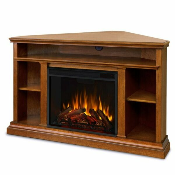 Real Flame Churchill Electric Corner Fireplace in Oak