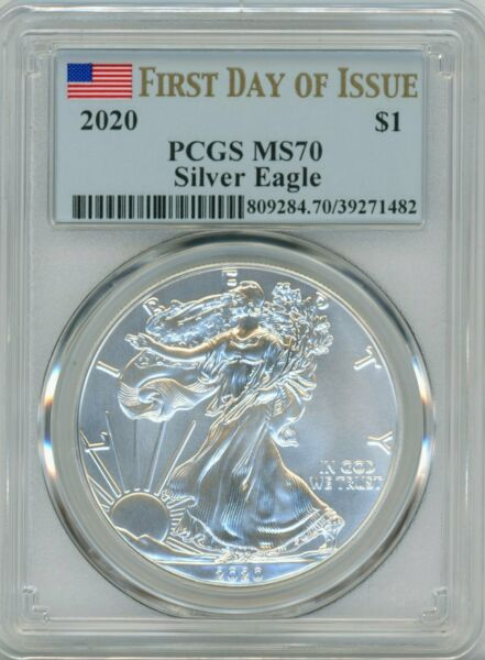 2020 American Silver Eagle $1 MS 70 First Day of Issue - PCGS