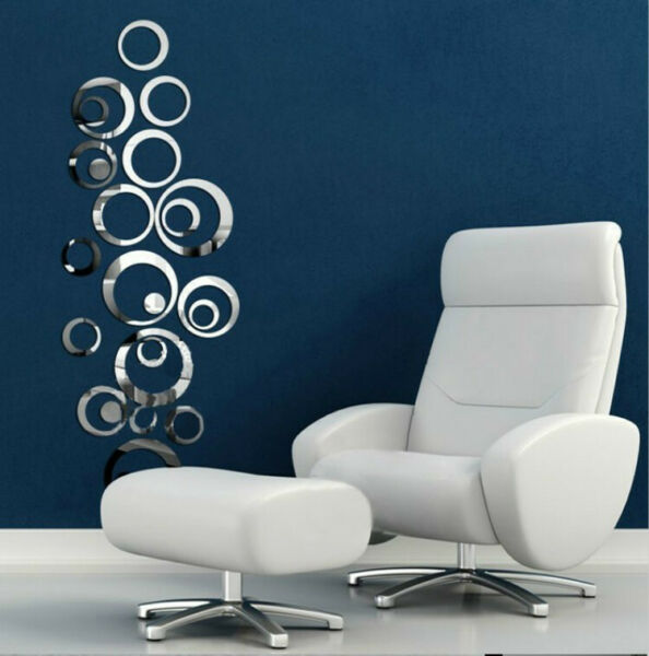 US 3D Circle Mirror Wall Sticker Removable Decal Acrylic Art Mural Home Decor