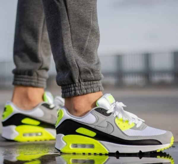 New NIKE Air Max 90 Essential Athletic Sneakers Mens white gray volt all sizes