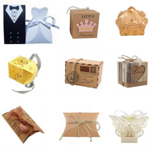 50-200pc Kraft Paper Pillow Candy Gifts Boxes with Ribbon Wedding Party Gift Box