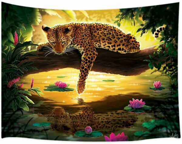 Green Tropical Forest Jungle with Jaguar Big Cats Tapestry for Bedroom Dorm $24.83
