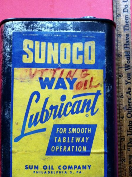 Vintage Sunoco Way Lubricant Oil Old Tin Can W Rare Paper Label Nice
