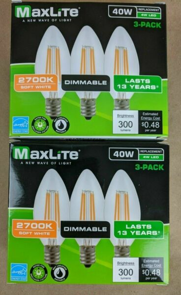 6 pack Candelabra B10 LED Light Bulbs 2700k 40W 300L Equivalent C12 E12 Dimmable