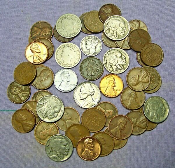 Starter Collection MIX Lot of 50 OLD U.S. Coins with Mercury Silver Dime *100919
