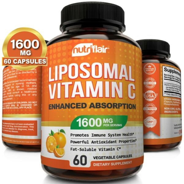 Liposomal Vitamin C 1600mg High Absorption Vit C Pills 60 Capsules Supplements