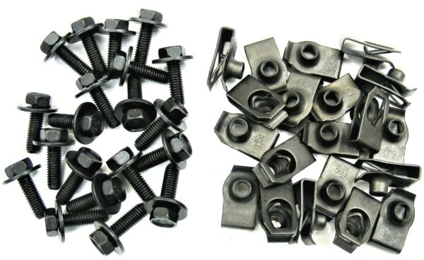 Chrysler Body Bolts & U-nut Clips- M6-1.0 x 20mm- 10mm Hex- 40 pcs (20ea)- #150F