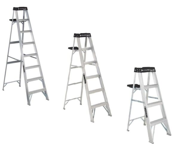 Louisville Commercial Aluminum Step Construction Tool Ladder 250 LB Capacity
