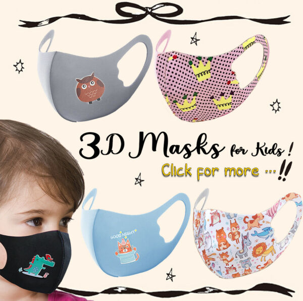 Kids Toddler Face Mask 2 Pack Reusable Washable Protection Cover Breathable