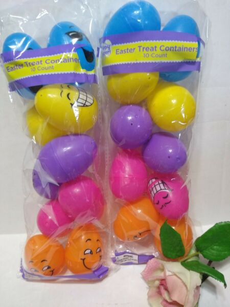 20 Bulk Plastic Easter Basket Eggs treat Containers Bright Face Designs 2 packs