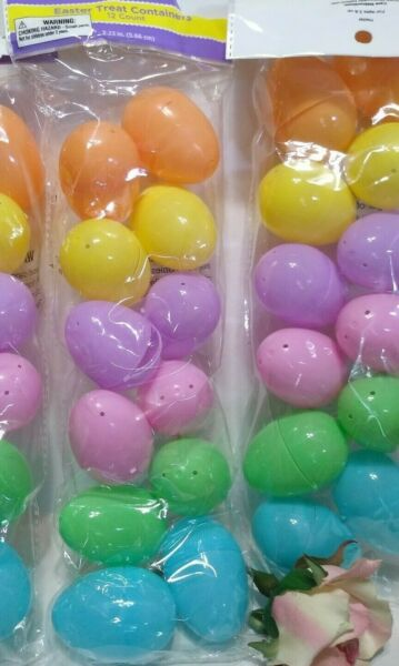 20 Plastic Easter Basket Eggs treat Containers Pastel Colors 2 packs 2.23