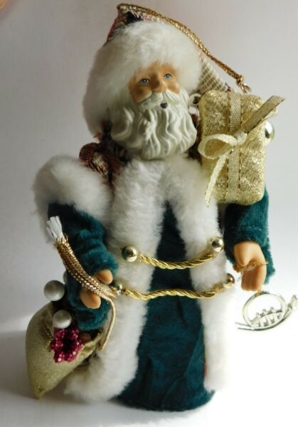 Vintage Hand Crafted NeedlePoint Robe Santa Clause Cone Figurine 6.5