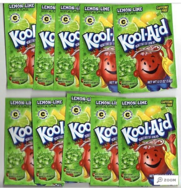 Lemon-Lime Kool-Aid  Summer Favorite Drink Snow Cone - 10 Packets