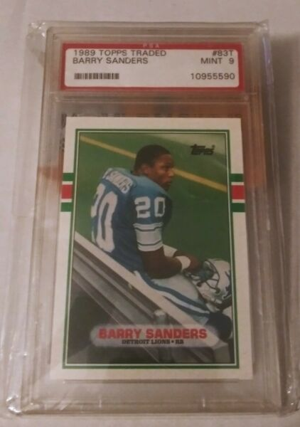 1989 Topps Traded Barry Sanders Detroit Lions #83T PSA 9 Mint
