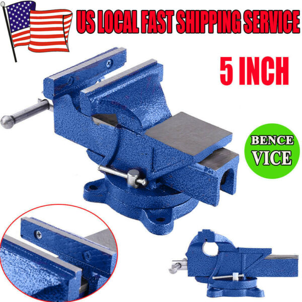 Heavy Duty 5quot; Work Bench Vise Workshop Clamp Engineer Swivel Locking Base Table
