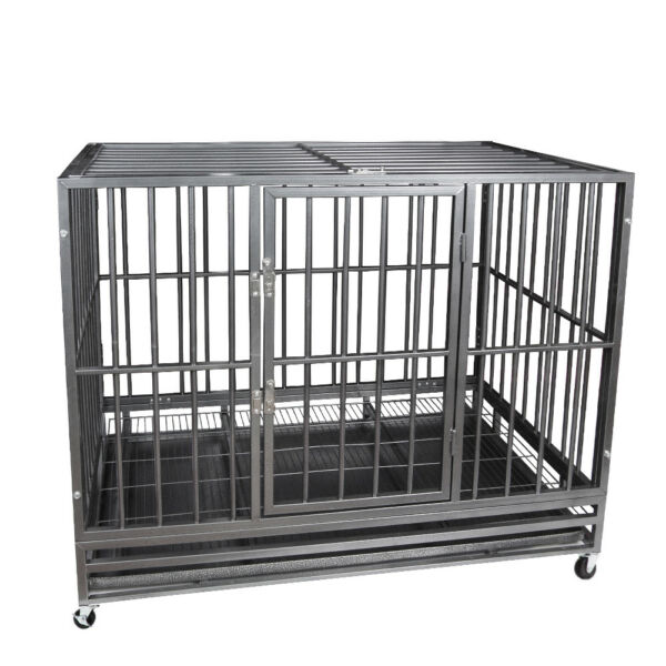 48quot; Gray Heavy Duty Pet Dog Cage Strong Metal Crate Kennel Playpen Wheelsamp;Tray $249.99
