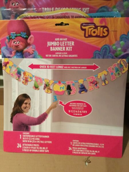NEW! TROLLS JUMBO LETTER Banner Kit-Birthday Party Supplies Hanging-Decorations