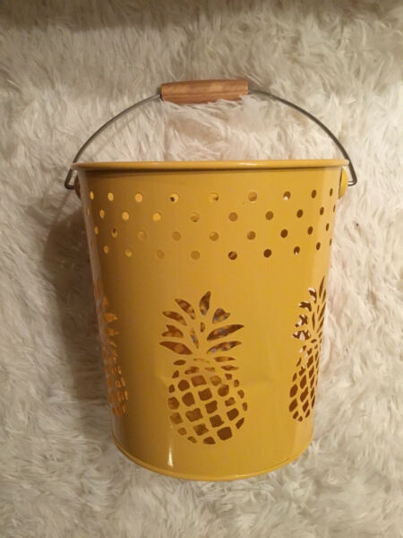 Pineapple Metal Pail Bucket with Handle Party Decorative Gift Bright Yellow