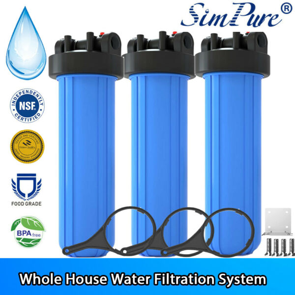 20quot; x 4.5quot; Big Blue Water Filter Housing For Whole House 1quot; Outlet Inlet 3Pack