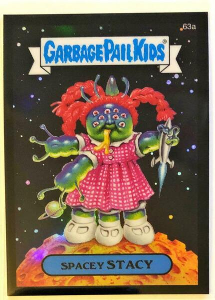 2014 GARBAGE PAIL KIDS GPK CHROME SERIES 2 BLACK REFRACTOR 63A SPACEY STACY