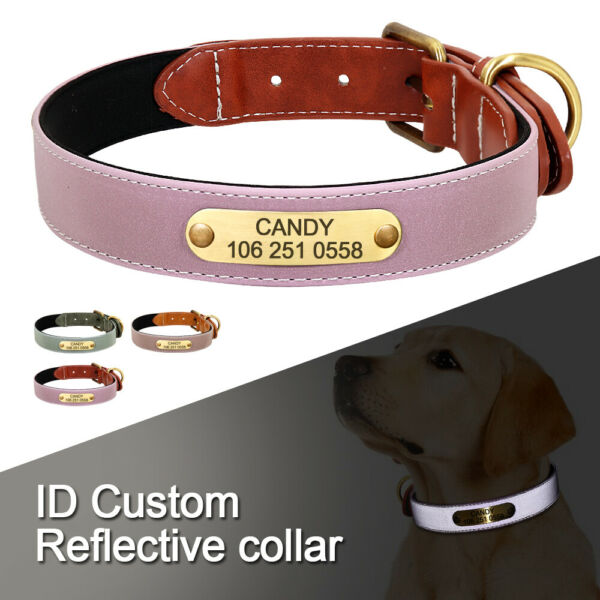 Reflective Dog Personalized Leather Collars Custom ID Name Tags Small Large Dogs $9.99
