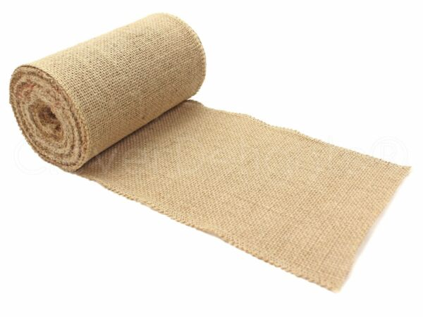 6quot; Premium Burlap Roll 10 Yards Finished Edges Natural Jute Burlap Fabric