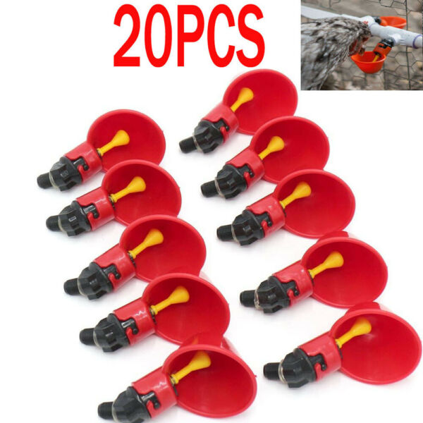20 Pack Poultry Water Drinking Cups- Chicken Hen Plastic Automatic Drinker USA $17.09