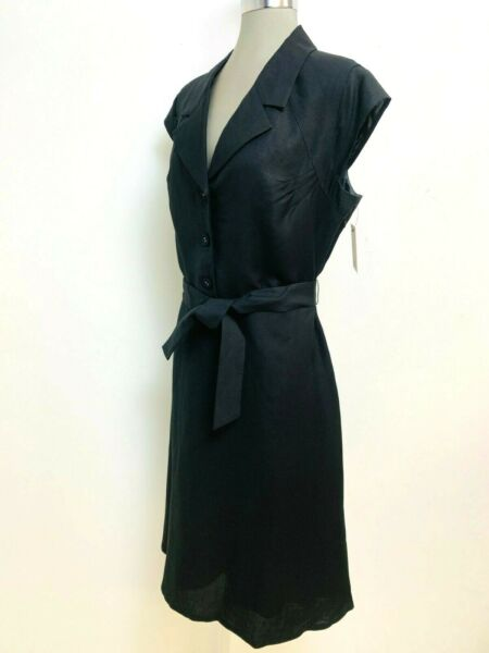 Calvin Klein NWT Elegant BLACK Linen Fit amp;Flare Belted Collared Dress size 16 $39.99