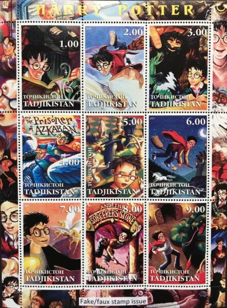 HARRY POTTER STAMP SHEET 2001 FAUX ISSUE HEDWIG FANTASY WIZARD MAGIC WITCHCRAFT