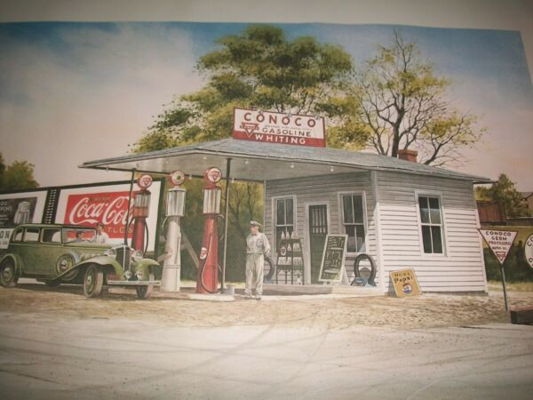 29quot; X 24quot; CONOCO GAS STATION Poster Hyw 252 Staunton Virginia Old Signs Pepsi