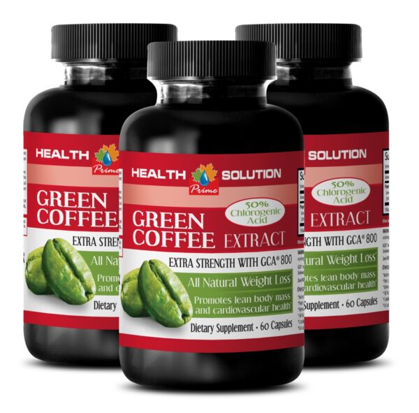3 Bottles Organic Green Coffee Beans Extract GREEN COFFEE EXTRACT WITH GCA® 800