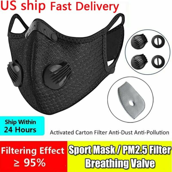 Reusable Sport Face Mouth Cover Mask With Valve Activated Carbon Filters Pad $24.99